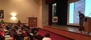 Mike Lucas, PSU Art Professor speaks to MVHS students about his career.